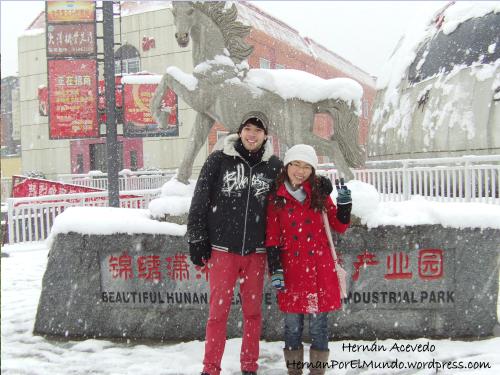 La entrada del shopping cubierta de nieve. A juzgar por la cara del caballo diríamos que no le gustaba que le saquen fotos